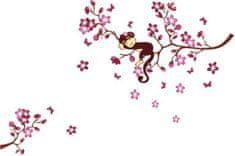 Zooyoo Samolepka na zeď Opička na stromě 85 x 120 cm