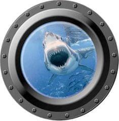 Zooyoo Samolepka na zeď Ponorka okno podmořský svět žralok II 3D 43 x 43 cm
