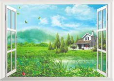 Zooyoo Samolepka na zeď 3D okno Dům u jezera 70 x 50 cm
