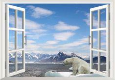 Zooyoo Samolepka na zeď 3D okno Polární medvěd 48 x 68 cm