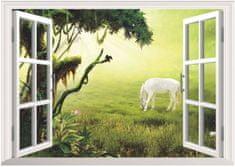 Zooyoo Samolepka na zeď 3D okno Kůň bělouš 48 x 68 cm