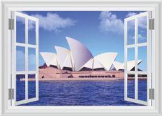 Zooyoo Samolepka na zeď 3D okno Opera v Sydney 50 x 70 cm
