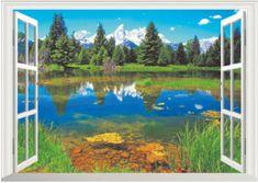 Zooyoo Samolepka na zeď 3D okno Lesní jezero 47 x 66 cm