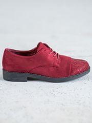 BEST SHOES Exkluzívní dámské polobotky červené na plochém podpatku