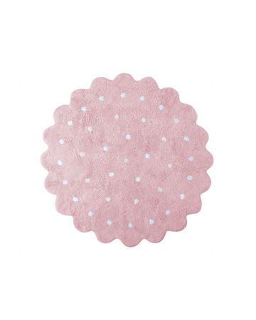 Lorena Canals Ručně tkaný kusový koberec Little Biscuit Pink 140x140 kytka