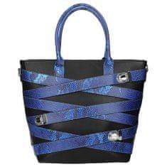 Módní černá taška s ozdobnými proužky v barvě chrpy