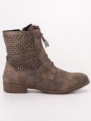 Komfortní dámské kotníčkové boty zelené na plochém podpatku