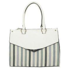 Klasická dámská kabelka s barevnými pruhy v modré barvě