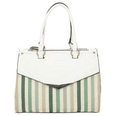 Klasická dámská kabelka s barevnými pruhy v zelené barvě