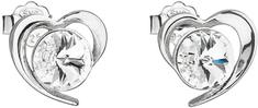 Evolution Group Ezüst fülbevaló Swarovski fehér szív 31259.1 ezüst 925/1000