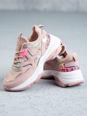 Exkluzívní růžové tenisky dámské bez podpatku