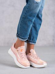Moderní dámské tenisky růžové bez podpatku