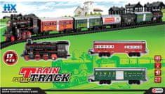 ICOM Nákladní vlak + vagóny + koleje sada na baterie se světlem a zvukem