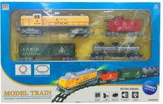 ICOM Nákladní vlak + 3 vagóny + koleje sada na baterie se světlem a zvukem