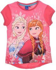 Sun City Dětské tričko Frozen Anna a Elsa bavlna růžové Velikost: 104 (4 roky)