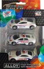 ICOM Kovová autíčka Policie sada 3ks 1:50