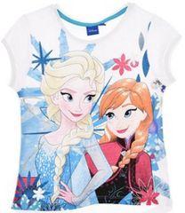 Sun City Dětské tričko Frozen Anna a Elsa bavlna bílé Velikost: 104 (4 roky)