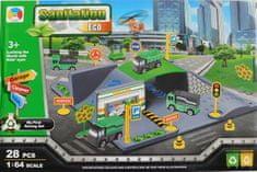 ICOM Hrací sada autíčka s tunelem městské služby 28ks