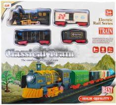 ICOM Klasický vlak + 3 vagóny + koleje sada na baterie se světlem a zvukem