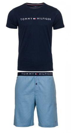 Tommy Hilfiger pánske pyžamo UM0UM01596 CN SS SHORT WOVEN SET S tmavomodrá