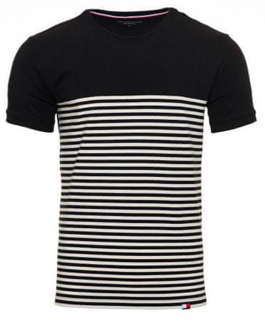 Tommy Hilfiger pánske tričko UM0UM01625 CN SS TEE STRIPE S čierna
