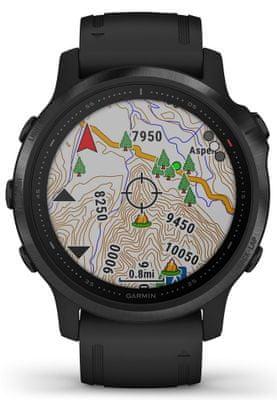 Inteligentné hodinky Garmin fénix 6S PRO, zobrazenie mapy na displeji, GPS, Glonass, Galileo