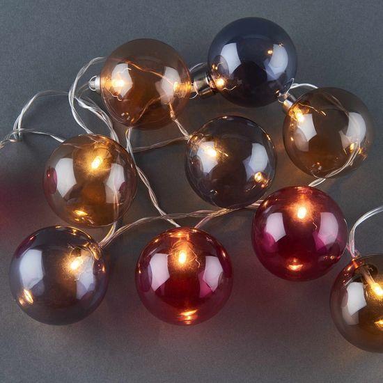 Butlers Světelný řetěz skleněné koule tónované 10 světel