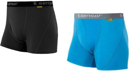 Sensor szorty męskie Merino Active 2-Pack Czarne/Niebieskie XL