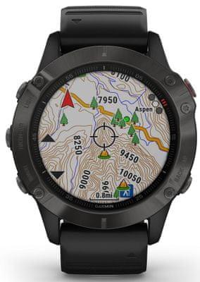 Smartwatch Garmin fénix 6 Sapphire , wyświetlanie mapy na ekranie, GPS, Glonass, Galilelo