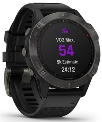 Smartwatch Garmin fénix 6 Sapphire, optyczne monitorowanie tętna, analiza akcji serca, zmienność tętna, natlenienie krwi, wytrzymałość aerobowa, VO2 Max, wskaźniki jazdy na rowerze i biegu
