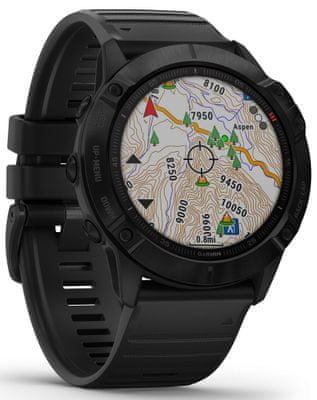 Chytré hodinky Garmin fénix 6X PRO, zobrazení mapy na displeji, GPS, Glonass, Galilelo
