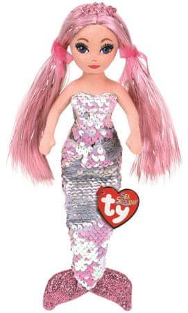 TY Mermaids Cora – roza morska deklica, z obojestranskimi bleščicami, 45 cm