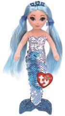 TY Mermaids Indigo - modrá mořská panna 45 cm s otočnými flitry