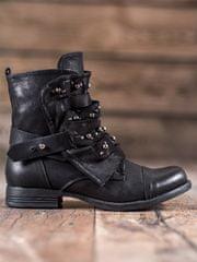 Pohodlné černé kotníčkové boty dámské na plochém podpatku