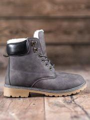 Trendy dámské kotníčkové boty šedo-stříbrné na plochém podpatku