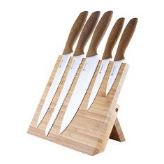 Platinet set vrhunskih kuhinjskih noževa, 5 komada, drvene ručke + drveni magnetski stalak, bambus