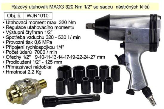 """MAGG Rázový utahovák 320 Nm 1/2"""" se sadou nástrčných klíčů WJR1010"""