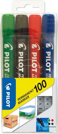 Popisovač Pilot Marker 100 Permanent sada 4 barev