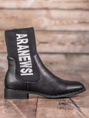 Vinceza Exkluzívní černé kotníčkové boty dámské na plochém podpatku