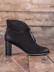 Vinceza Moderní černé dámské kotníčkové boty na širokém podpatku