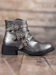 Módní kotníčkové boty dámské šedo-stříbrné na širokém podpatku