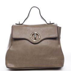Maria C. Dámska priestranná taška s klopou Lucile, tmavo béžová
