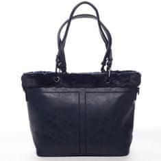 Maria C. Veľká dámska koženková kabelka s kožúškom Onésime modrá