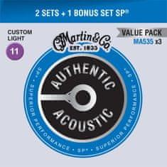 Martin Authentic SP 92/8 Phosphor Bronze Custom Light - Limited 3 Packs Kovové struny na akustickú gitaru