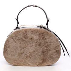 Maria C. Oválná dámská kabelka do ruky s kožíškem Lazare béžová