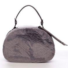 Maria C. Oválná dámská kabelka do ruky s kožíškem Lazare šedá