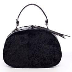 Maria C. Oválná dámská kabelka do ruky s kožíškem Lazare černá