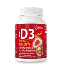 NUTRICIUS Vitamín D3 pre deti 400IU - jahoda 30 tabliet