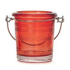 Yankee Candle Świecznik szklany , Wiadro szklane, wysokość 6,5 cm, czerwone