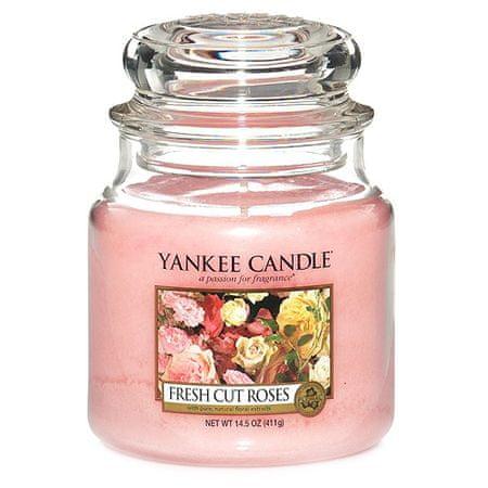 Yankee Candle Świeca w szklanym słoju , Świeżo ścięte róże, 410 g